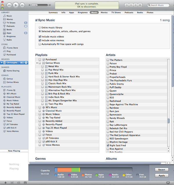 iPad sync music