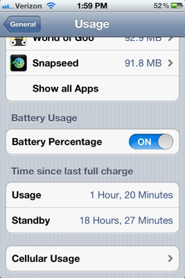 iPhone 4S battery life