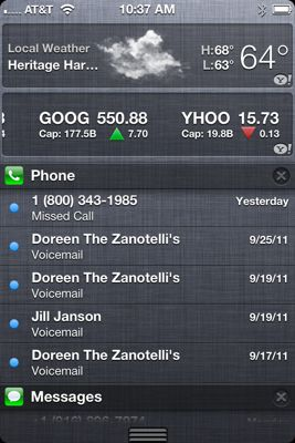Notifications center iOS 5
