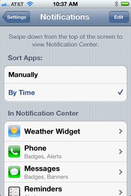 Notifications center sort
