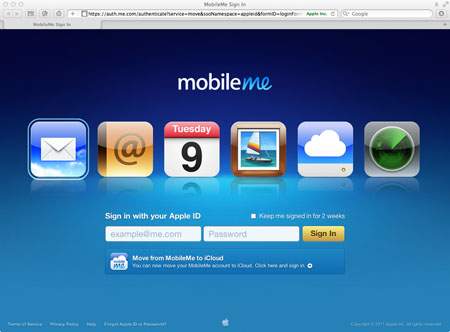 MobileMe sign in