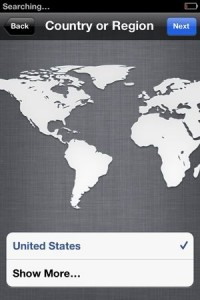 iPhone set up select country