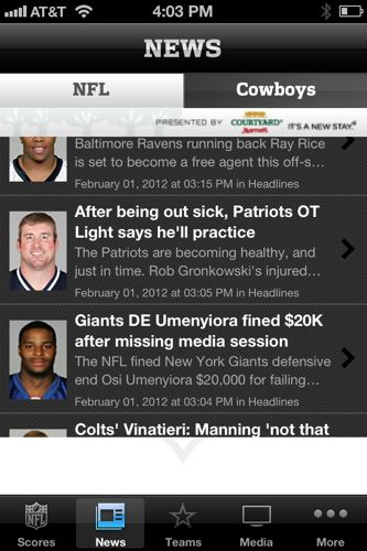 NFL iPhone app