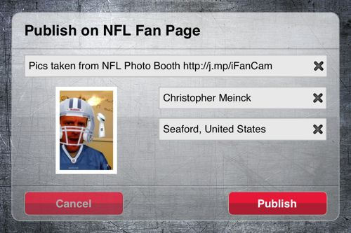 NFL Photobooth app for iPhone