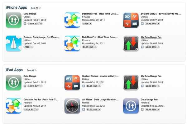 Apps check iPhone, iPad data usage
