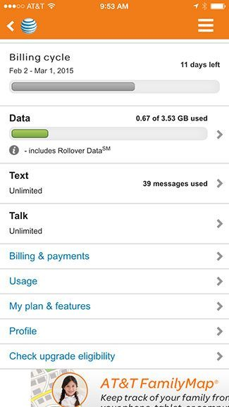 AT&T app tracking data usage
