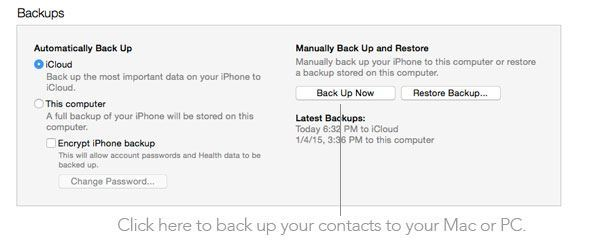 Backup contacts to Mac or PC