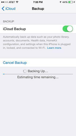 Backup now to iCloud