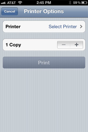 iPhone print options