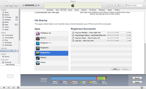 File sharing iTunes