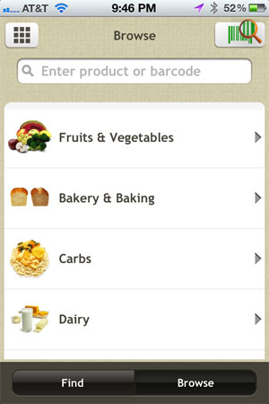 Fooducate for iPhone browse
