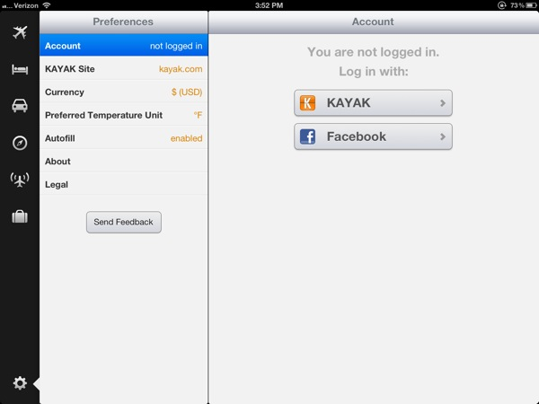 Kayak iPad app