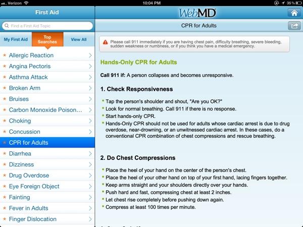 webMD first aid on iPad
