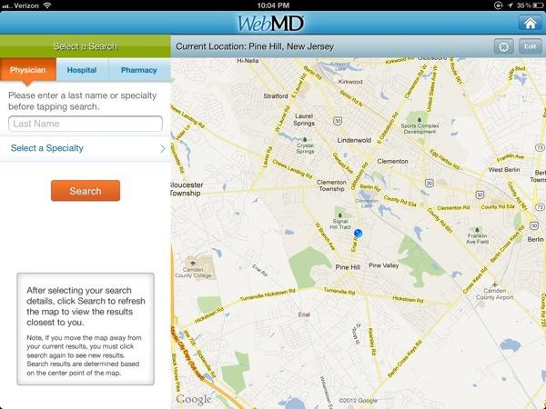 Local health listings on iPad