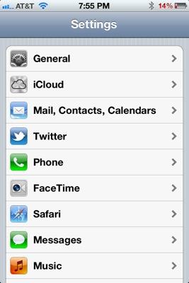 iCloud settings