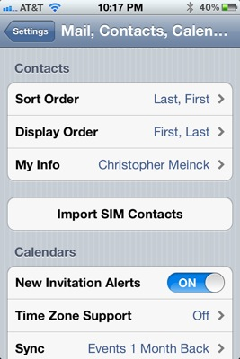 Sort contacts iPhone