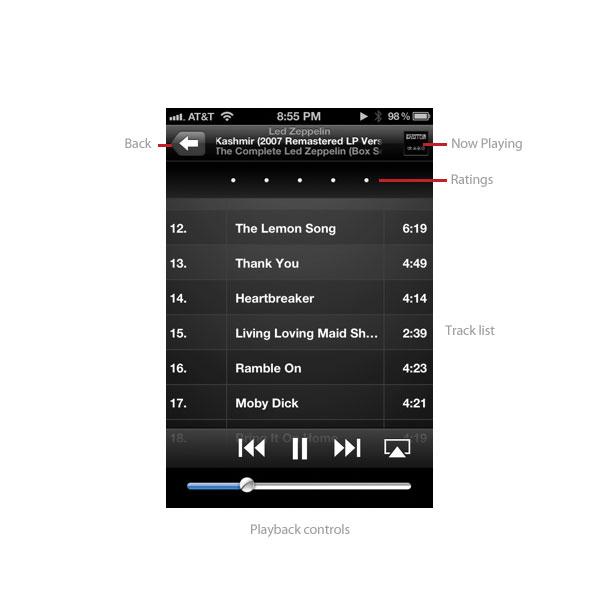Music app track listing