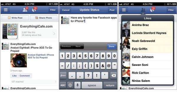 Facebook Pages app for iPhone