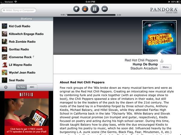 Pandora on iPad