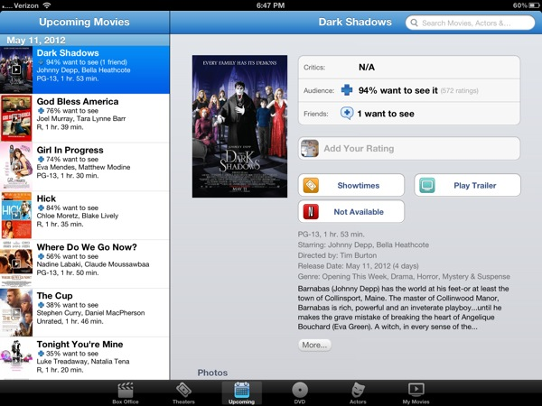 Movie times, trailer iPad