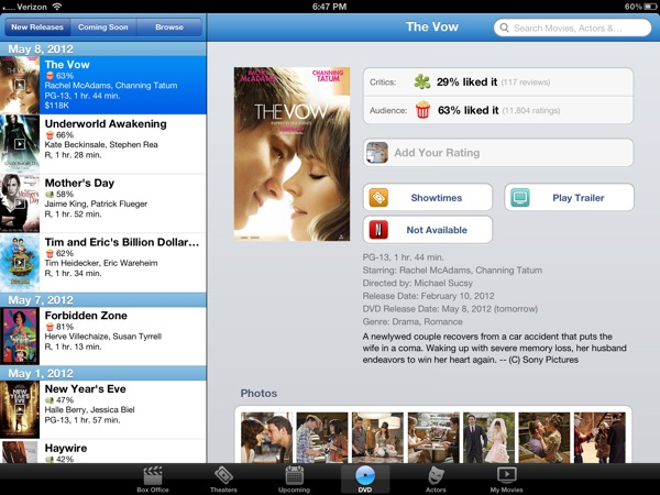 iPad movie reviews