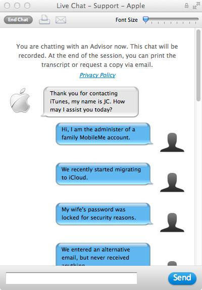 Apple ID chat