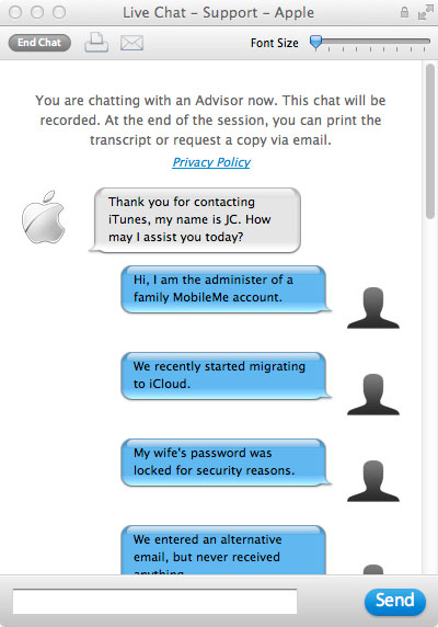 Apple ID chat