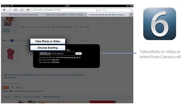 iOS 6 file uploads in Safari