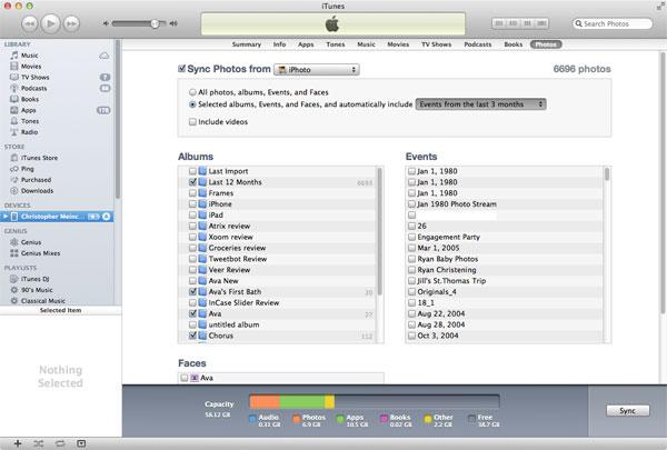 iTunes photos