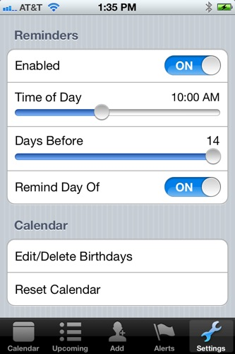 MyCalendar settings