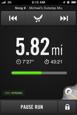 distance run in Nike app