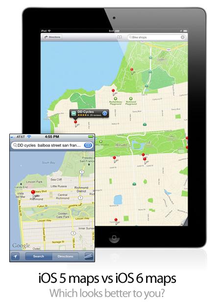 iOS 5 maps vs iOS 6 maps
