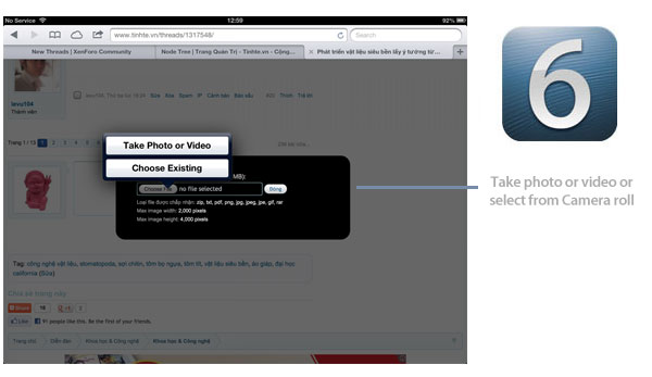 iOS 6 photo browser uploads