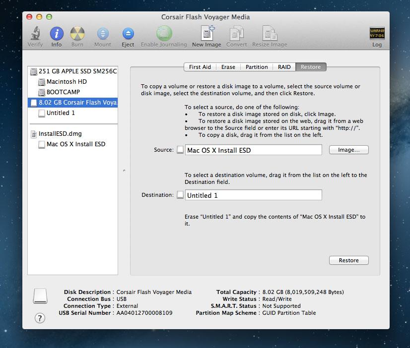 Restore Mountain Lion installer to USB key