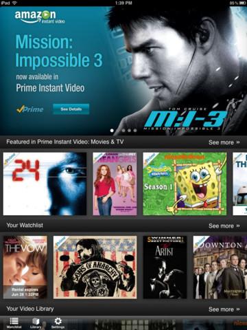 Amazon Instant Video app for iPad