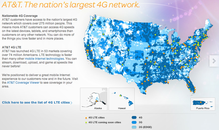 AT&T 4G LTE coverage map