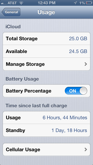 Battery life iPhone 5