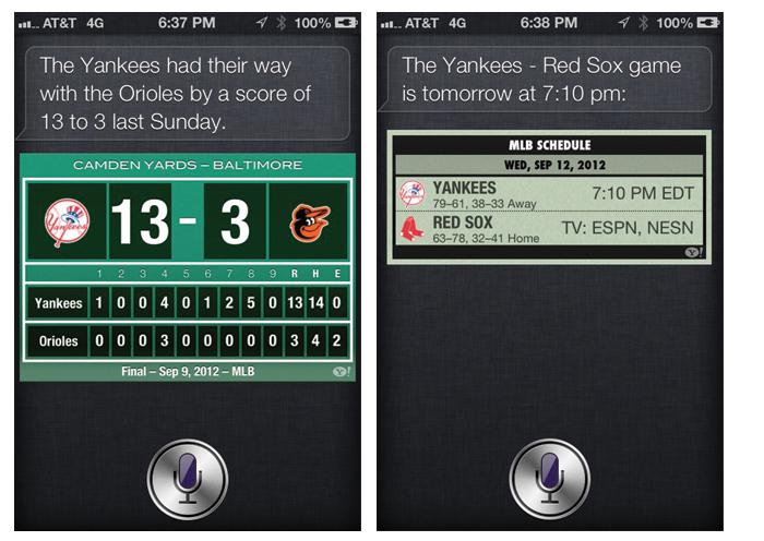 Siri sports scores