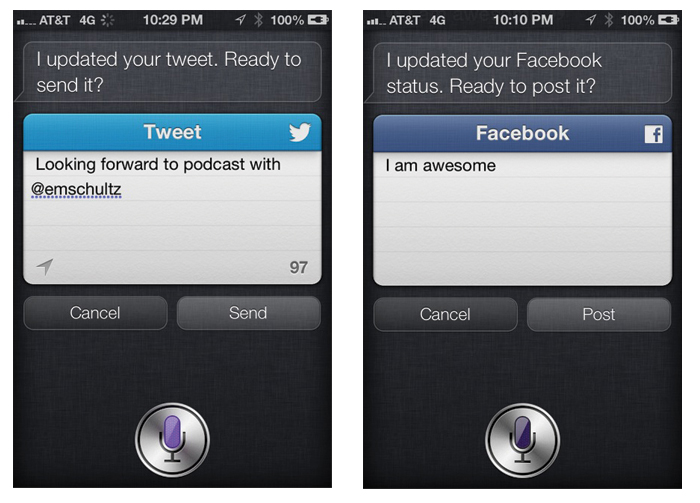 Update Twitter or Facebook status with Siri