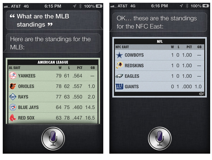 Siri iOS 6 sports standings