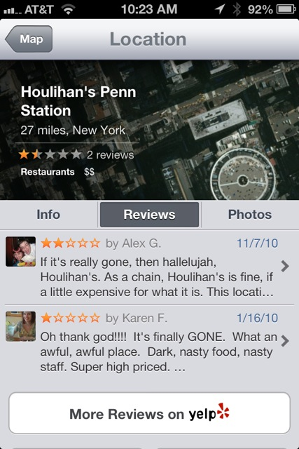 Yelp reviews POIs in Maps