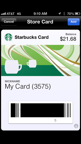 Starbucks Passbook