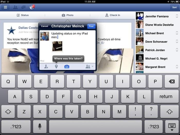 Facebook for iPad mini
