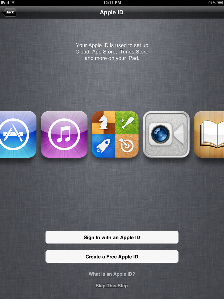 iPad mini Apple ID