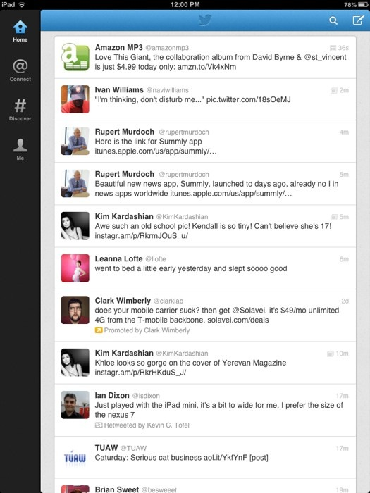 Twitter for iPad mini