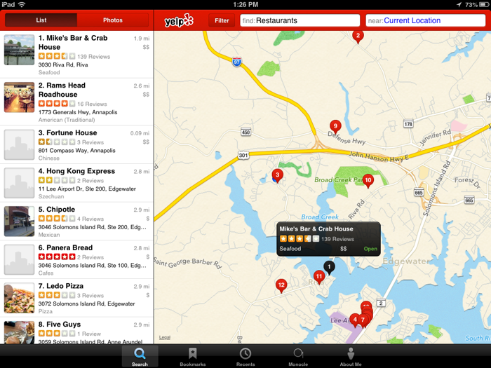 Yelp for iPad mini