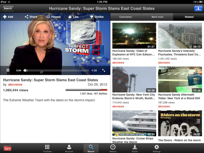 YouTube iPad mini