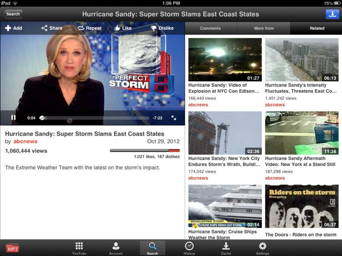YouTube iPad mini