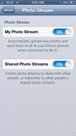 Configure Photo Stream