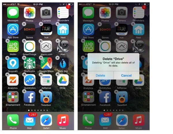 Delete apps from iPhone